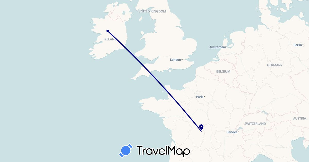 TravelMap itinerary: driving in France, Ireland (Europe)